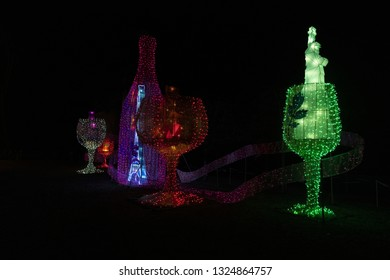 France, Galliac, 2017, Light display used to promote the wine producers in the area to tourists.