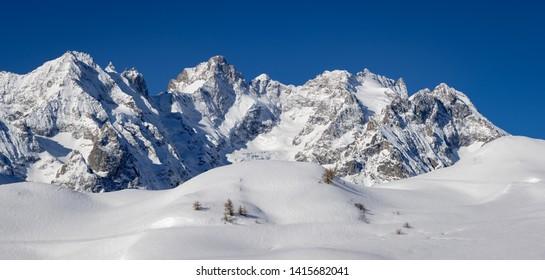 France, Hautes-Alpes (05), Col du Lautaret, Ecrins National Park - Winter panoramic view on Glacier du Lautaret, Glacier de l'Homme and Bec de l'Homme Peak. European Alps