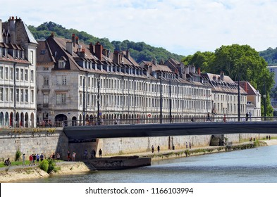 Besançon, France - June 24, 2018: The Quai Vauban, the Doubs River and the Pont Battant by a beautiful summer day.