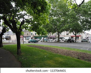 Châteauroux, France - June 3, 2018. The center of the town, with shops.