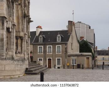Châteauroux, France - June 3, 2018. Eglise Notre Dame de Chateauroux, churchyard.