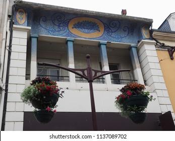 Châteauroux, France - June 3, 2018. House with Art Nouveau decorations.