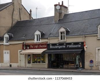 Châteauroux, France - June 3, 2018. Pastry bakery and chocolate shop in the historic center.