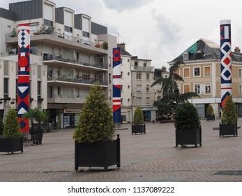Châteauroux, France - June 3, 2018. Place République, the main square.