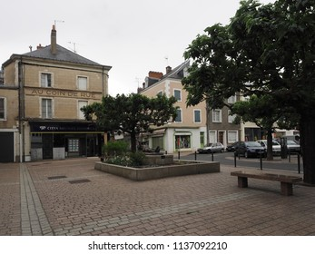 Châteauroux, France - June 3, 2018. Small square with monument to soldiers fallen in the war.