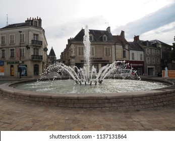 Châteauroux, France - June 3, 2018. Square with fountain.