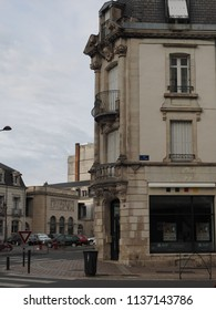Châteauroux, France - June 3, 2018. Street in the historic centre, elegant building.