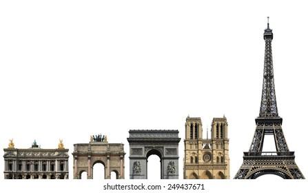 France, landmark of Paris, on a white background