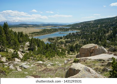France landscape with lakes in the natural park of the Catalan Pyrenees, Pyrenees-Orientales, Occitanie
