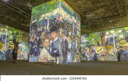 FRANCE LES BAUX DE PROVENCE SEP 2018 view of the light exhibition at the  Carrieres de Lumieres (careers of light) where famous paintings are projected onto the walls of the old career