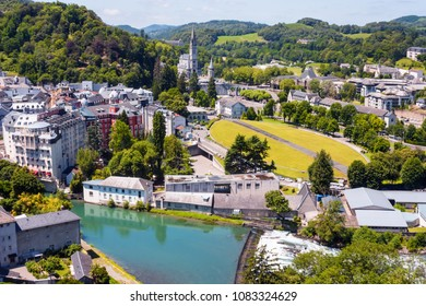 France, Lourdes, July 9, 2016. View of the city Lourdes - the Sanctuary of Our Lady of Lourdes, the Hautes-Pyrenees department in the Occitanie region in south-western France