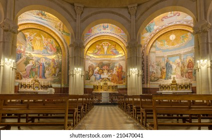 FRANCE LOURDES SEP 6: view of interiors of basilica in Lourdes town on 6 September 2013. The town is a place where st Mary appeared before a peasant girl
