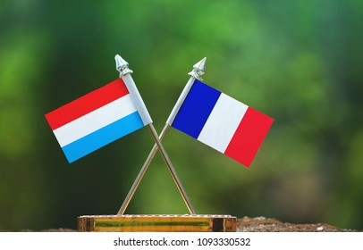 France and Luxembourg small flag with blur green background