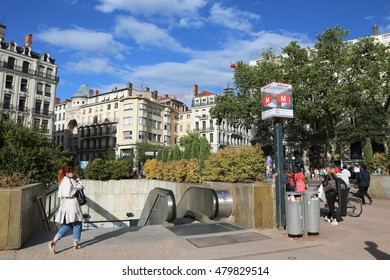 FRANCE, LYON - July 13: Entrance of subway  in France in 2016 at sunny day. City Lyon. Station Place Bellecour.