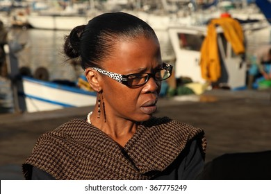 France, Marseille -November 19, 2015. An unidentified woman at the Old Port of Marseille (Vieux-Port), Marseille is France's largest city on the Mediterranean coast and largest commercial port.