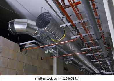 Besançon, France - May 21, 2014: Ventilation ducts on a construction site.