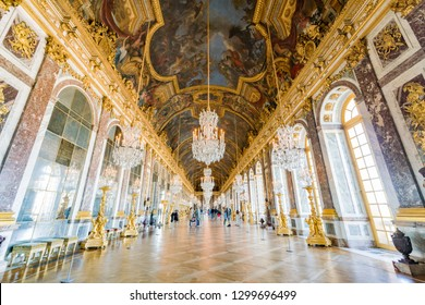 France, MAY 5: Hall of Mirrors of the famous Palace of Versailles on MAY 5, 2018 at France
