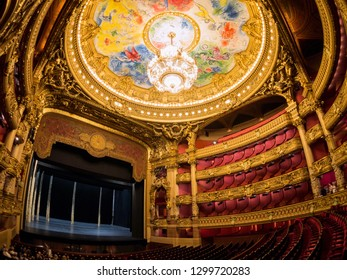 France, MAY 7: The colorful drawing roof of the Auditorium in the famous Palais Garnier on MAY 7, 2018 at Paris, France