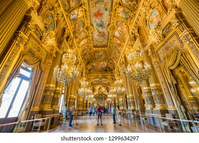 France, MAY 7: Interior view of the famous Grand Foyer of Palais Garnier on MAY 7, 2018 at France