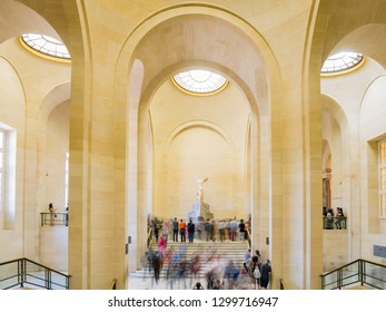 France, MAY 7: Nike of Samothrace of the famous Louvre Museum on MAY 7, 2018 at Paris, France