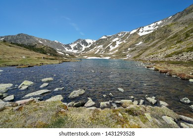 France mountain landscape Pyrenees, Trebens lake and Carlit massif, Pyrenees-Orientales