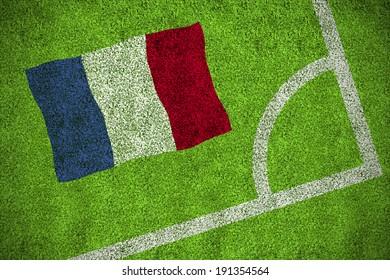 France national flag against corner of football pitch