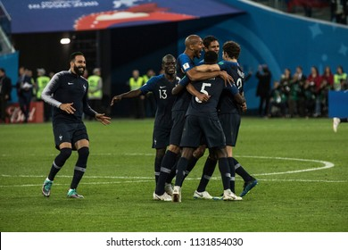 France national football team players celebrate victory. Adil Rami, N'Golo Kanté, Samuel Umtiti,  Benjamin Pavard, Steven N'Zonzi and Raphael Varane. 1/2 final match at World Cup 2018. Fr-Blg 07.10.18
