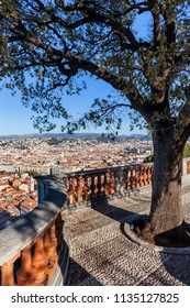 France, Nice city from above, hilltop viewpoint terrace with tree and classical balustrade