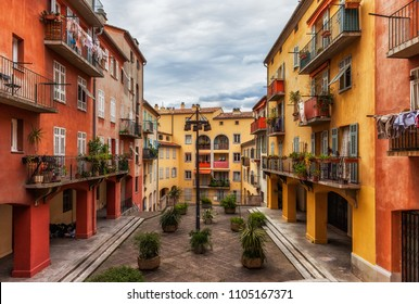France, Nice city, colorful traditional houses with courtyard in the Old Town (Vieille Ville).