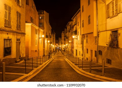 France, Nice city, Rossetti Street in Old Town (Vieille Ville) at night