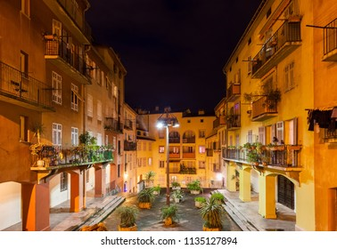 France, Nice city, traditional houses with courtyard in the Old Town (Vieille Ville) at night