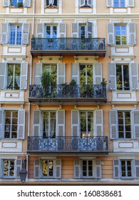 France, Nice. Typical details of urban facades