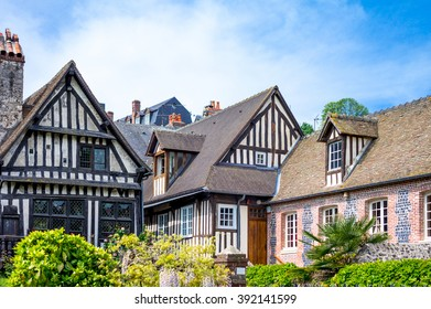 France, Normandy, Honfleur, the houses of the old city center.