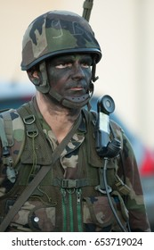 France, Normandy, June 6, 2011 - Soldier signalman takes part in tactical exercises in Normandy.