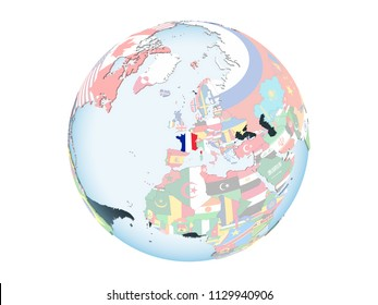 France on bright political globe with embedded flag. 3D illustration isolated on white background.