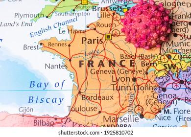 France on coronavirus map background