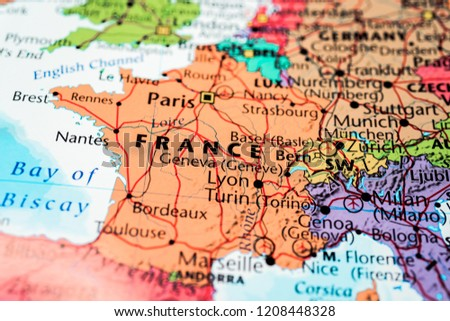 France On Map Stock Photo Edit Now 1208448328 Shutterstock