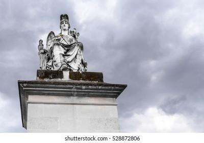 France, Paris, 04/04/2015, A sculpture in le Jardin des Tuileries sculpture gardens.