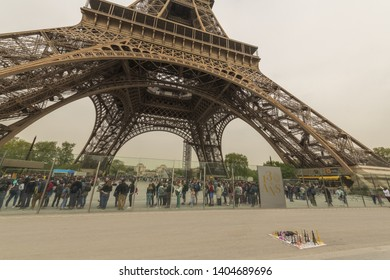 France, Paris, 2019/04, The Eiffel tower is 324 meters tall, and the tallest structure in Paris.  The Eiffel Tower is the second tallest free-standing structure in France.