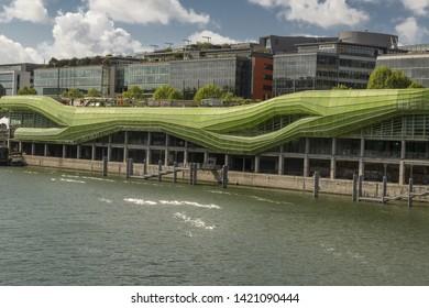 FRANCE, PARIS, 2019/04 : Former industrial space including the French Institute of Fashion. Exhibitions, shops and restaurants. Know as the Cité de la Mode et du Design,