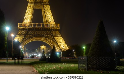 France, Paris 30 October 2015:Eiffel Tower shows its beautiful lights at night beside the glowing city lights