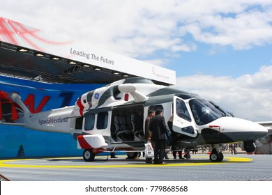 France. Paris. Air Show Le Bourget 2011. 23 June 2011. Demontstrate model helicopter AW189 company Agusta Westerland
