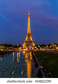 France, Paris - August 25, 2015: Night view the Eiffel Tower