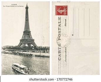 FRANCE, PARIS - CIRCA 1912: original vintage postcard with Eiffel Tower (La Tour Eiffel) in Paris. Illustrative Image. subject of human interest