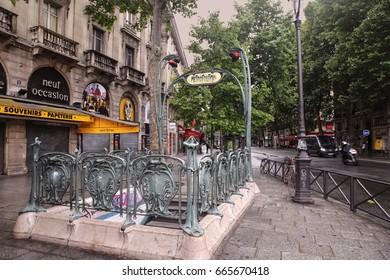 FRANCE, PARIS - JUNE 26, 2014: metro station Saint-Michel in latin quarter.