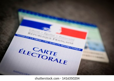 France, Paris, May, 22, 2019,  French electoral voter cards official government allowing to vote paper on grey background