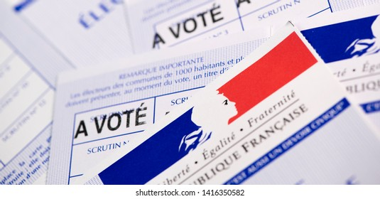 France, Paris, May, 22, 2019,  French electoral voter cards official government allowing to vote paper on white background, France