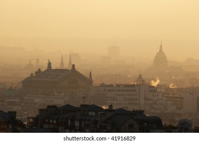 France. Paris. Skyline from Montmartre at sunset