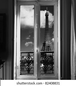 France - Paris - Window on Eiffel tower and Seine river