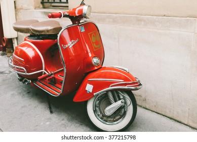 FRANCE, PARIS-OCTOBER 5, 2015: Red vintage vespa sprint scooter